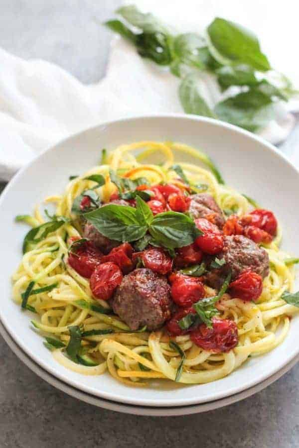 Italian Meatballs with Zoodles (Whole30) | The Real Food Dietitians | https://therealfooddietitians.com/italian-meatballs-zoodles-whole30/eatballs-with-zoodles-whole30/