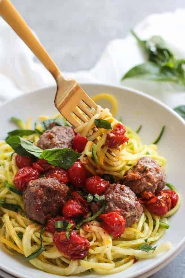 Italian Meatballs with Zoodles (Whole30) | The Real Food Dietitians | https://therealfoodrds.com/italian-meatballs-with-zoodles-whole30/