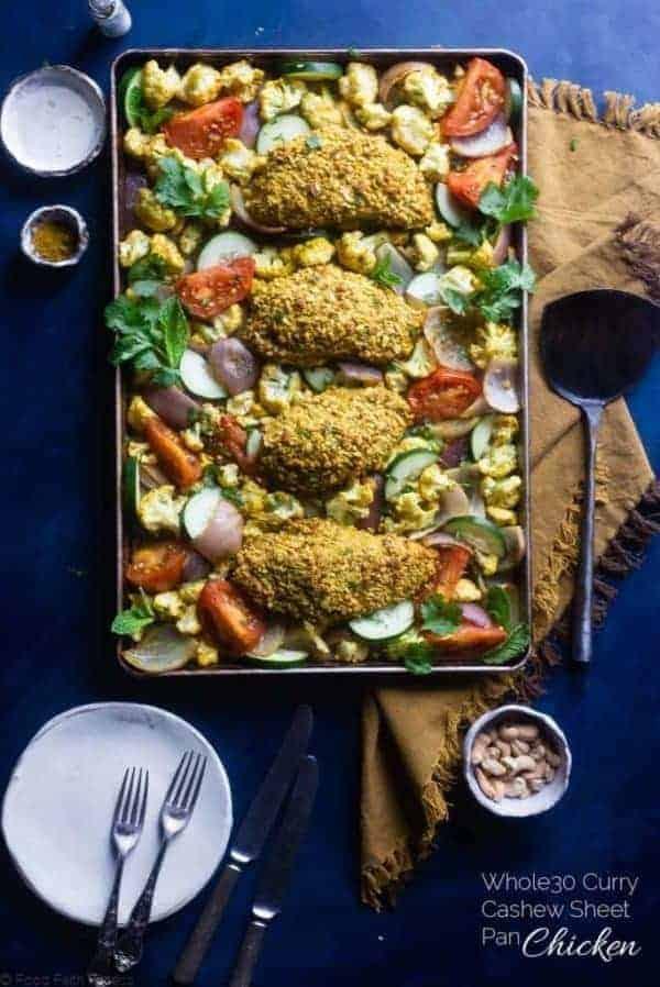 Thirty Whole30 Sheet Pan Recipes Curry Cashew Chicken in a sheet pan