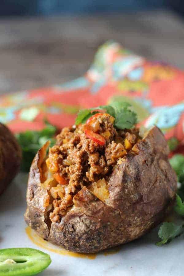 close up view of a Taco Stuffed Potato