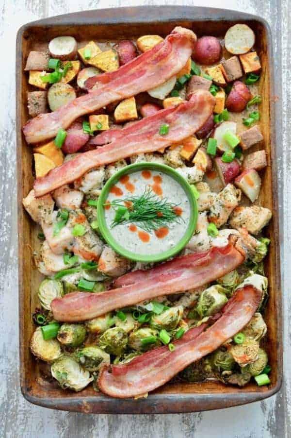 Thirty Whole30 Sheet Pan Recipes Buffalo chicken bacon ranch in a sheet pan