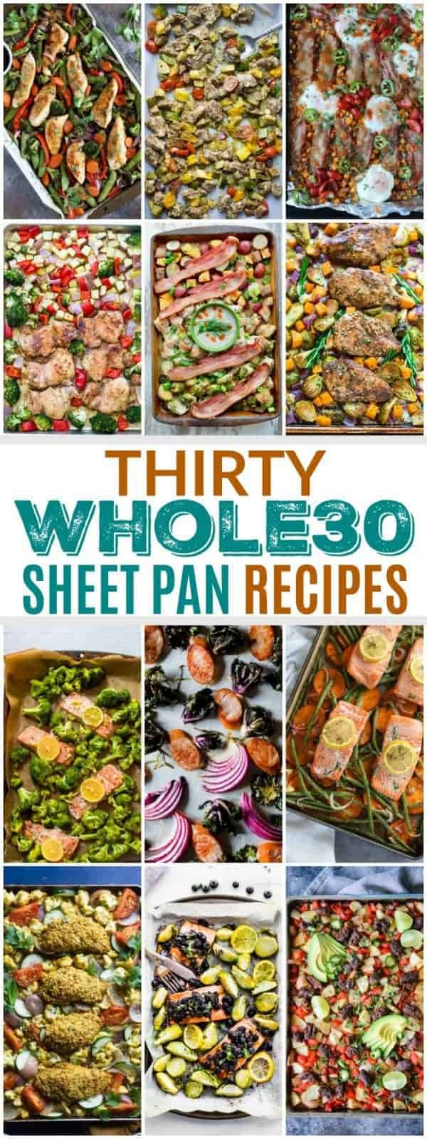 pinterest image for 30 Whole30 Sheet Pan Dinners Recipes