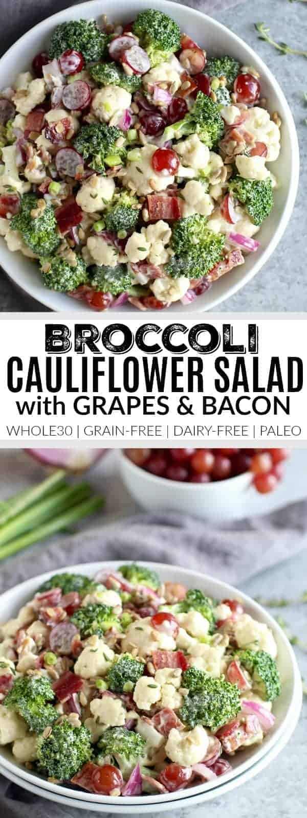 Broccoli-Cauliflower Salad with Bacon pin