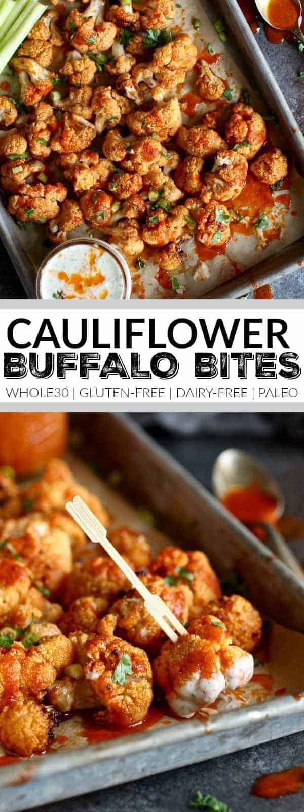 Pin image for Cauliflower Buffalo Bites (Whole30)