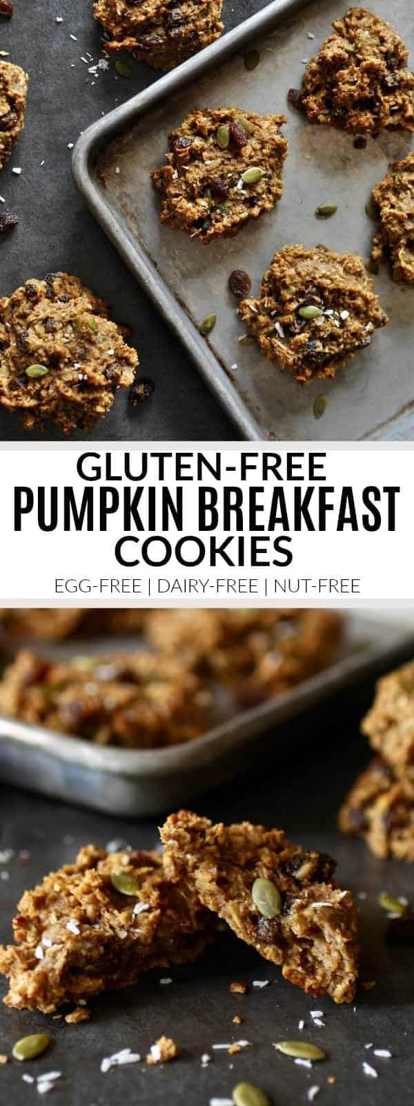 Pinterest image for Gluten-free Pumpkin Breakfast Cookies