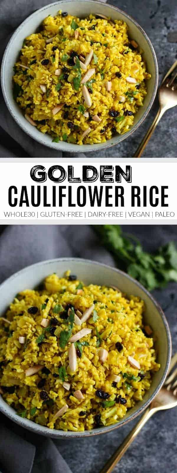 Golden Cauliflower Rice   how to cook cauliflower rice   cauliflower rice recipes   whole30 side dishes   gluten-free side dishes   dairy-free side dishes   vegan side dishes   paleo side dishes   gluten-free cauliflower rice   whole30 recipe ideas    The Real Food Dietitians #whole30recipes