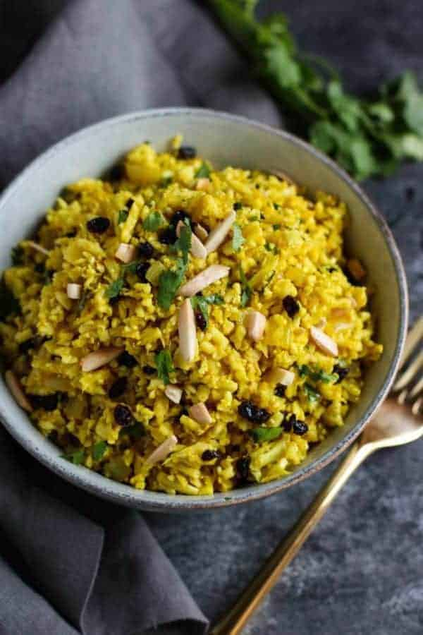 Golden Cauliflower Rice | The Real Food Dietitians | https://therealfooddietitians.com/golden-cauliflower-rice/