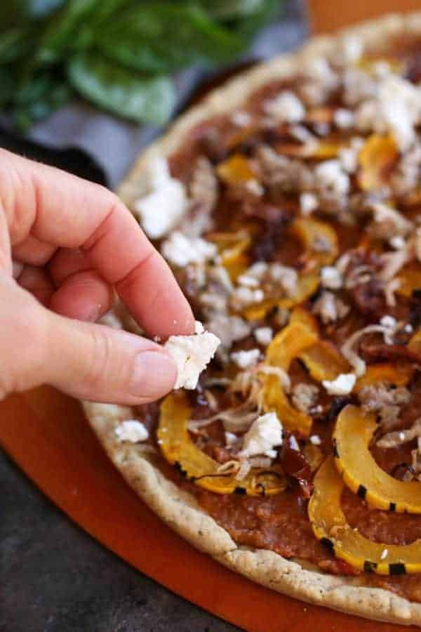 Grain-free Pizza with Sausage and Roasted Squash | healthy pizza recipes | homemade pizza recipes | gluten-free pizza | egg-free pizza | paleo pizza | dairy-free pizza | fall inspired recipes | roasted squash recipes || The Real Food Dietitians #healthypizza #paleopizza #grainfreepizza