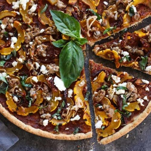 Grain-free Pizza with Sausage and Roasted Squash | The Real Food Dietitians | https://therealfooddietitians.com/grain-free-squash-sausage-roasted-squash/