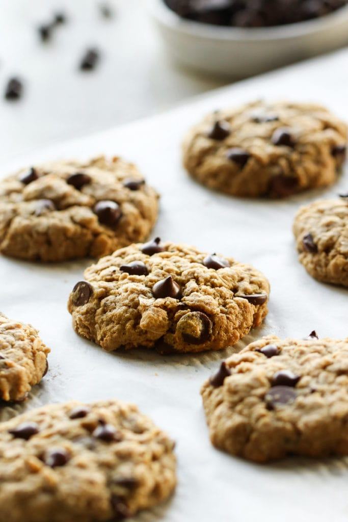 Healthy Peanut Butter Oatmeal Cookies with Chocolate Chips on a cookie tray, just out of the oven.
