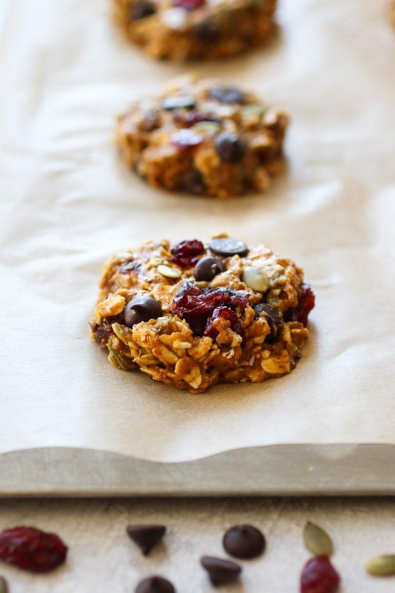 Baked oatmeal breakfast cookie on a baking sheet.
