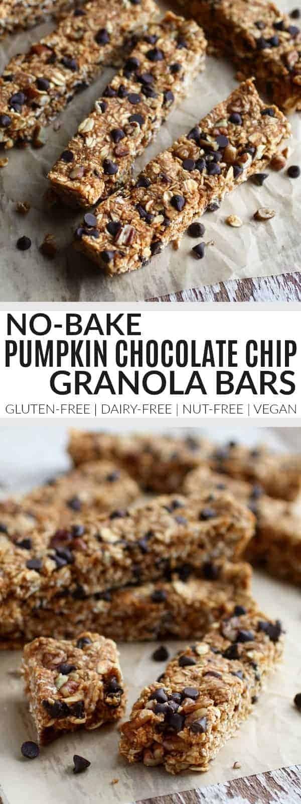 Pinterest image for No-Bake Pumpkin Chocolate Chip Granola Bars