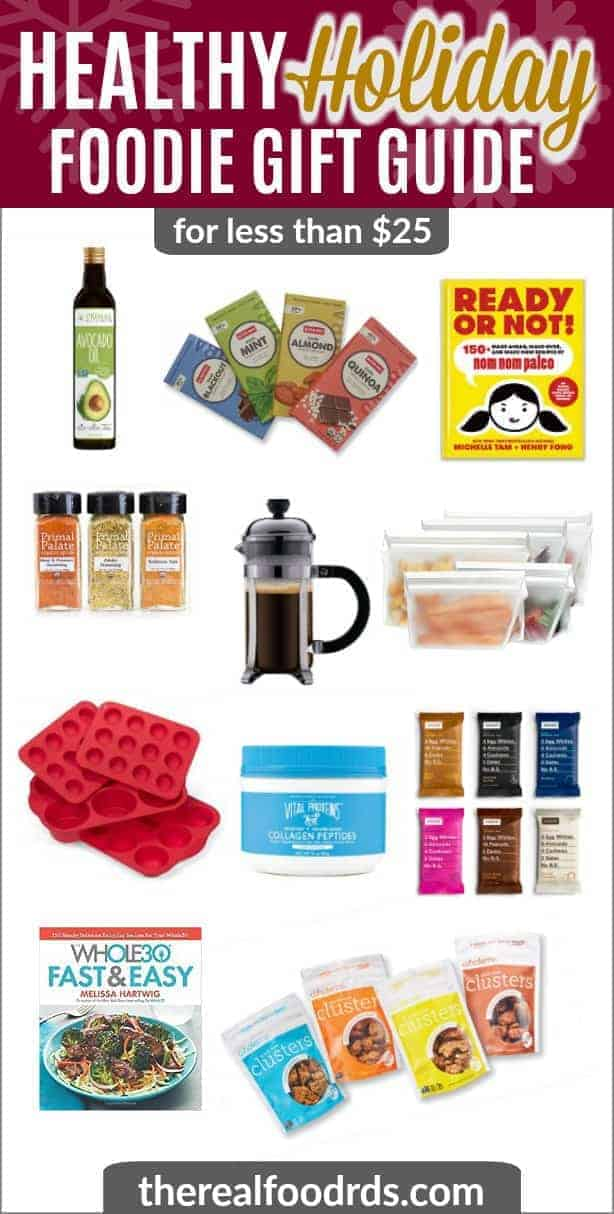 Healthy Holiday Foodie Gift Guide banner listing items less than $25