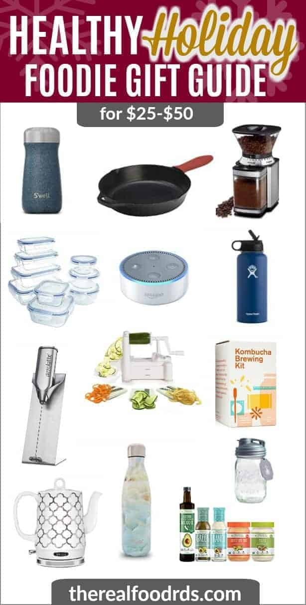 Healthy Holiday Foodie Gift Guide image listing items from $25 - $50