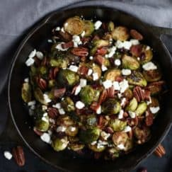Roasted Brussels with Bacon, Cranberries & Feta