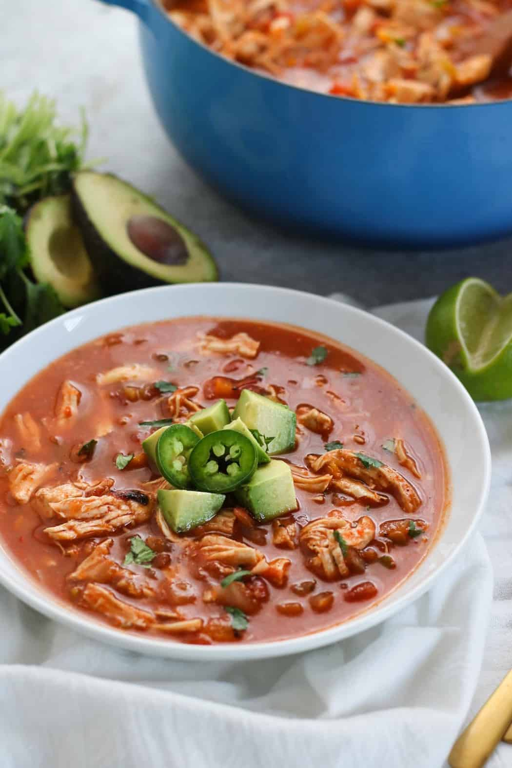 Chicken Torilla-less Soup   30 Whole30 Soups, Stews & Chilis   healthy soup recipes   whole30 meal ideas   whole30 recipes   whole30 chili recipes    The Real Food Dietitians #whole30soups #whole30recipe #whole30meals