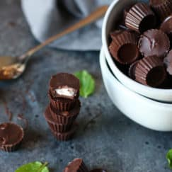 3-Ingredient Dark Chocolate Mint Cups   The Real Food Dietitians   https://therealfooddietitians.com/3-ingredient-chocolate-mint-cups/