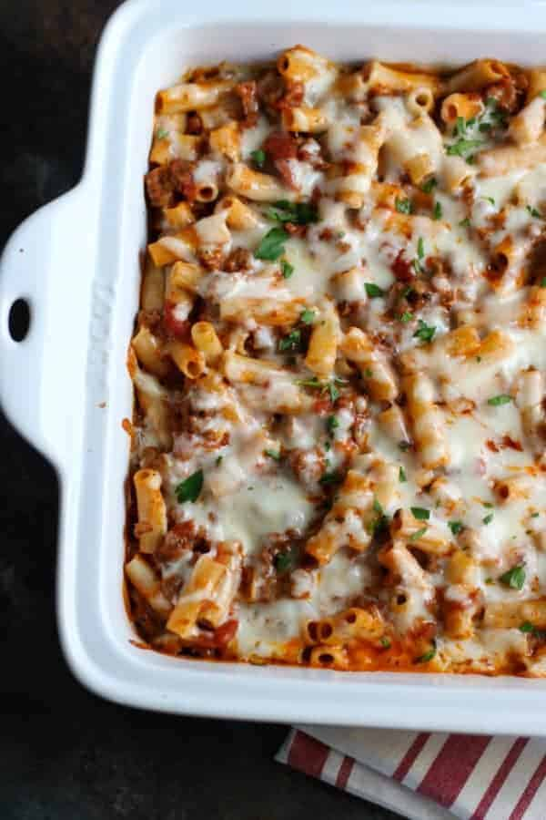 baked ziti in a white baking dish