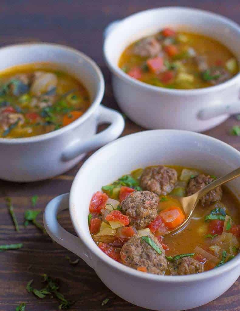 Meatball Minestrone Soup from Wholesomelicious | 30 Whole30 Soups, Stews & Chilis | healthy soup recipes | whole30 meal ideas | whole30 recipes | whole30 chili recipes || The Real Food Dietitians #whole30soups #whole30recipe #whole30meals