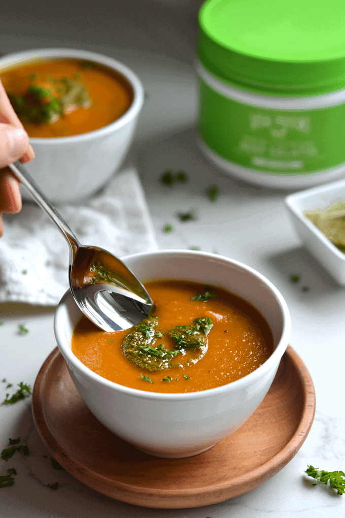 Roasted Parsnip and Carrot Soup from Little Bits Of | 30 Whole30 Soups, Stews & Chilis | healthy soup recipes | whole30 meal ideas | whole30 recipes | whole30 chili recipes || The Real Food Dietitians #whole30soups #whole30recipe #whole30meals
