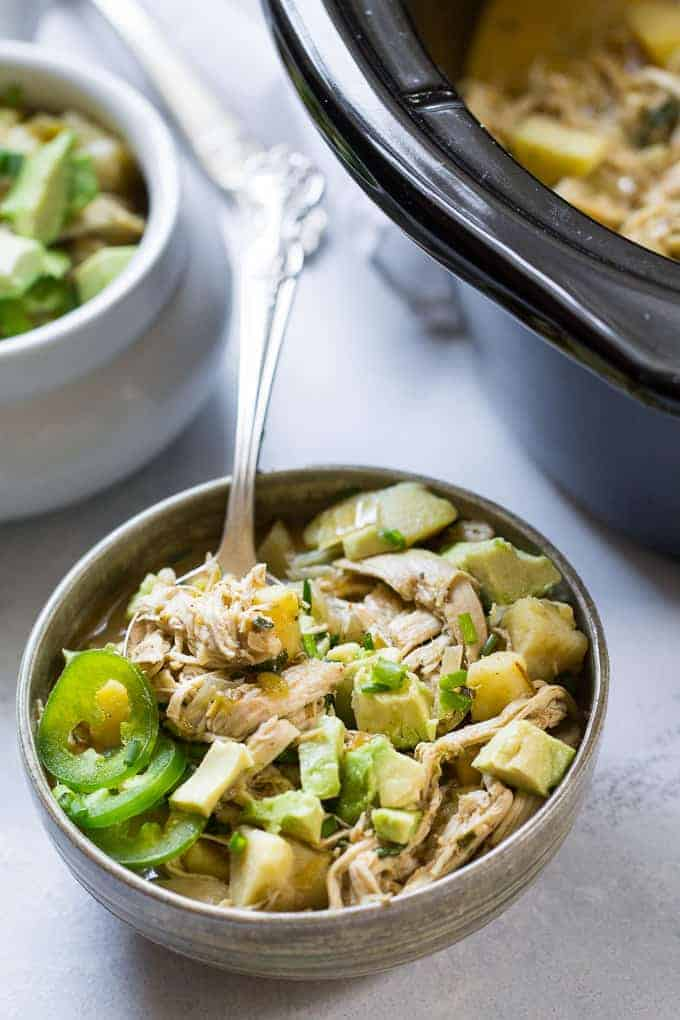 Slow Cooker White Sweet Potato Chicken Chili from Paleo Running Momma | 30 Whole30 Soups, Stews & Chilis | healthy soup recipes | whole30 meal ideas | whole30 recipes | whole30 chili recipes || The Real Food Dietitians #whole30soups #whole30recipe #whole30meals