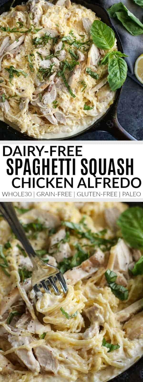 pinterest image for Dairy-Free Spaghetti Squash Chicken Alfredo