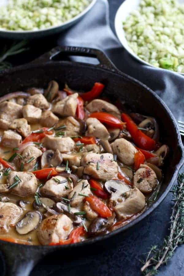 Whole30 Garlic Herb Chicken Veggie Skillet | whole30 dinner recipes | easy whole30 recipes | whole30 approved | gluten-free dinner | dairy-free dinner | healthy dinner recipes || The Real Food Dietitians #whole30recipe #glutenfreedinner #healthydinner
