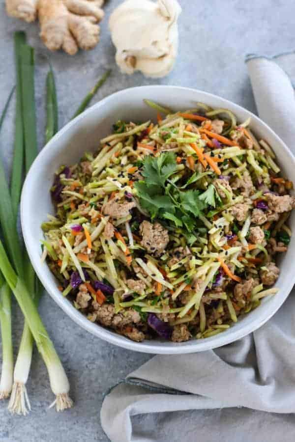 Easy Egg Roll in a Bowl in a white bowl