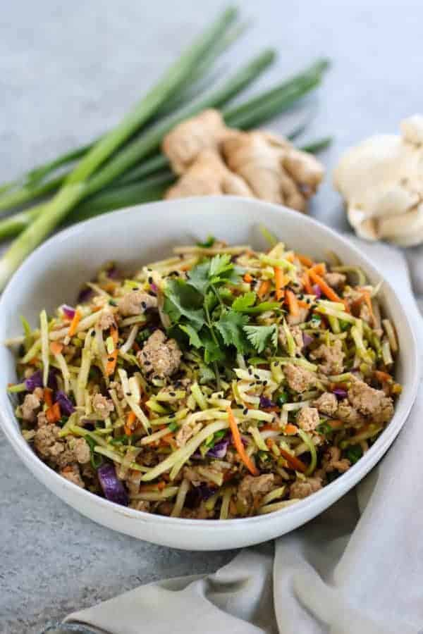 Easy Egg Roll in a Bowl (Whole30) in a white bowl