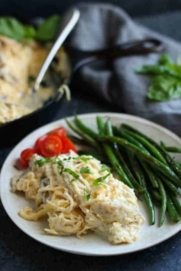 Dairy-Free Spaghetti Squash Chicken Alfredo on a white plate
