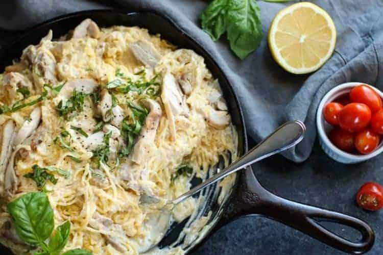 Dairy-free Spaghetti Squash Chicken Alfredo