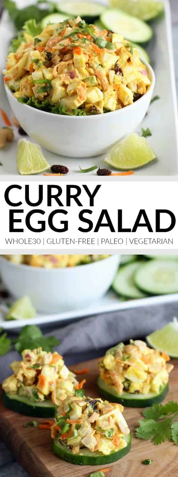 Pinterest image for curry egg salad