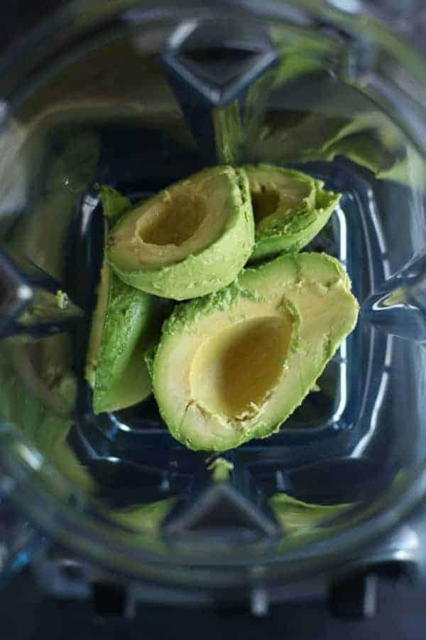Avocados in blender.