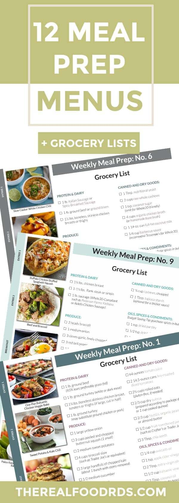 pinterest image for 12 meal prep menus and grocery lists