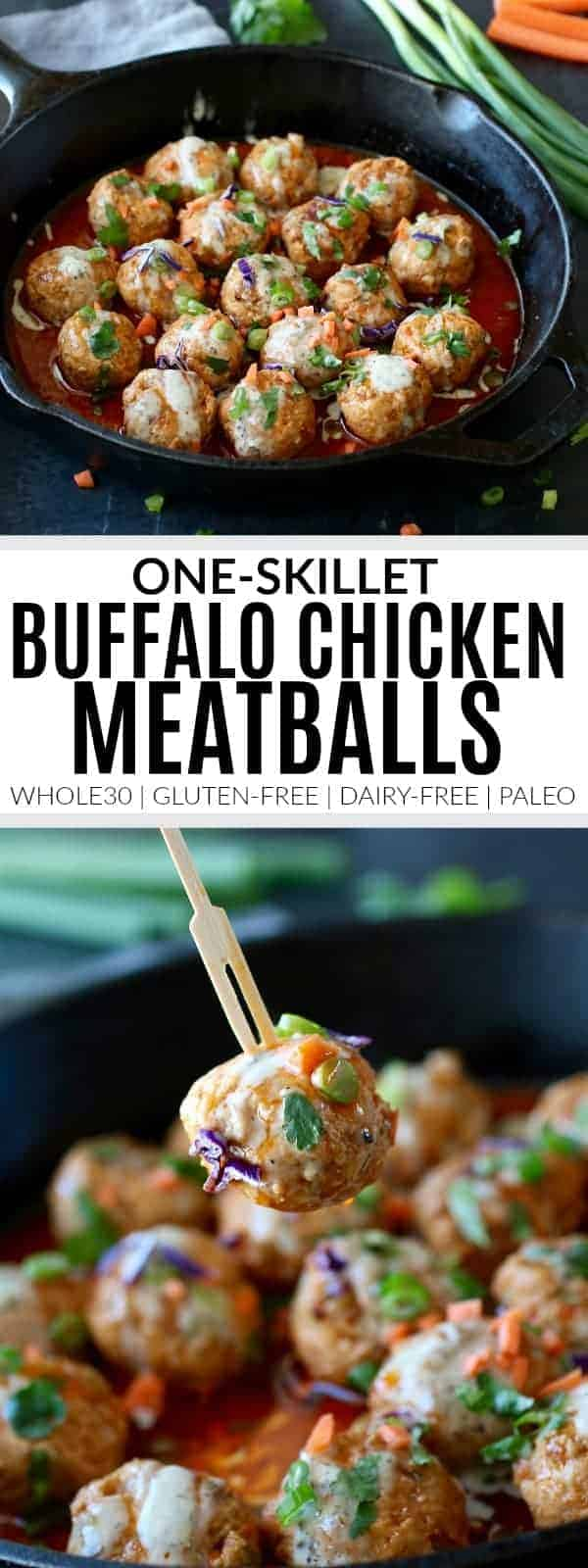 pinterest image for one-skillet buffalo chicken meatballs