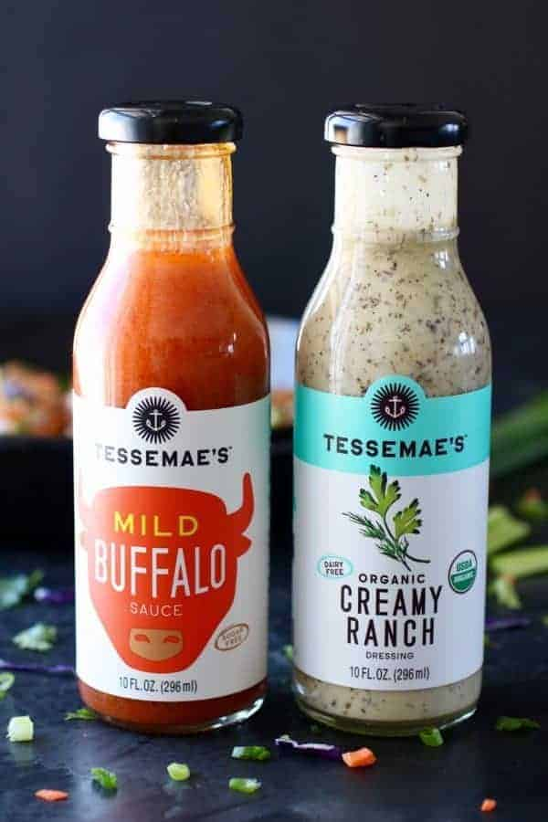 Tessemae's mild buffalo sauce and creamy ranch dressing