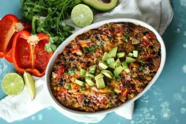 overhead view of southwest quinoa bake