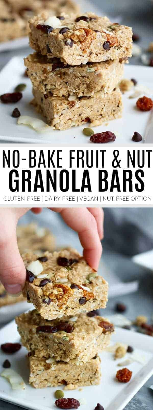 pinterest image for no-bake fruit and nut granola bars