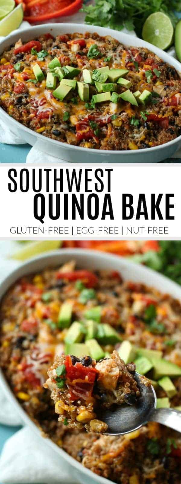 pinterest image for southwest quinoa bake