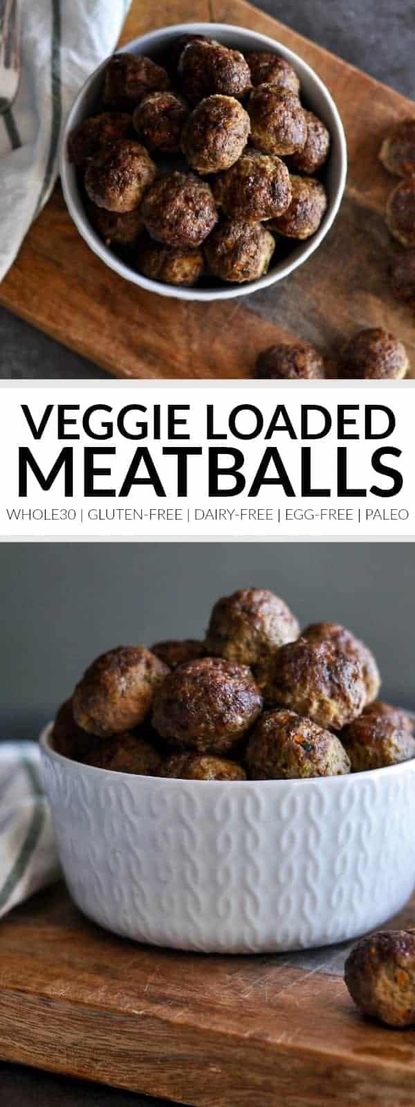 Pinterest image for Baked Veggie Loaded Meatballs