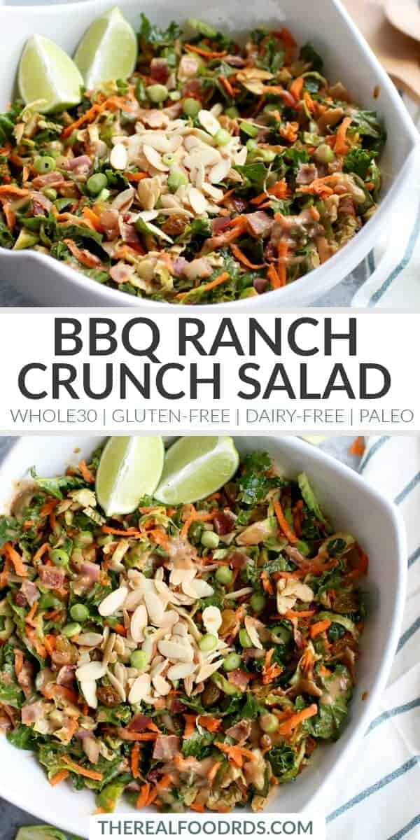 pinterest image for BBQ Ranch Chopped Salad with Brussels Sprouts & Kale