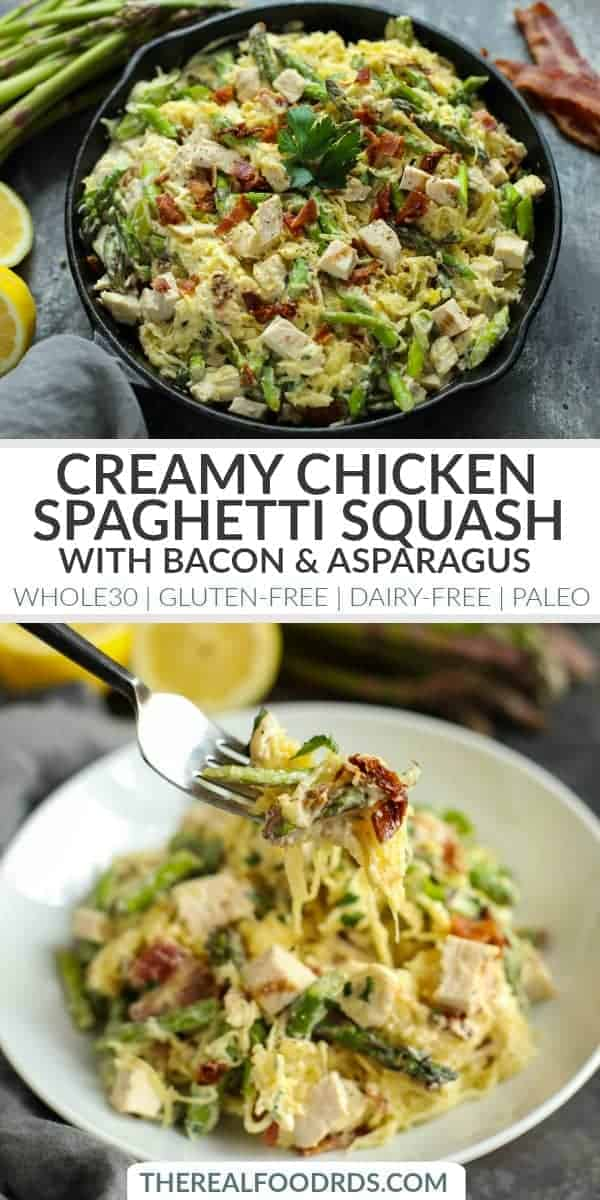 pinterest image for Creamy Chicken Spaghetti Squash with Bacon and Asparagus
