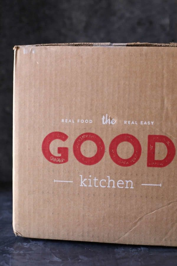 3 Ways to Make a Meal in Under 10 Minutes brown cardboard box with the Good kitchen label