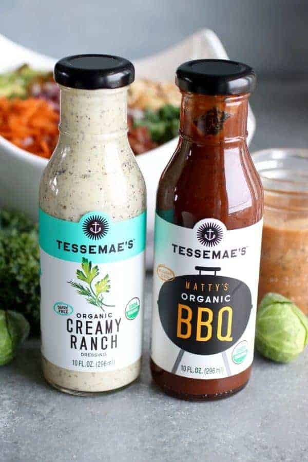 BBQ Ranch Chopped Salad with Brussels Sprouts & Kale Tessemae's Creamy Ranch and BBQ sauces in glass bottles