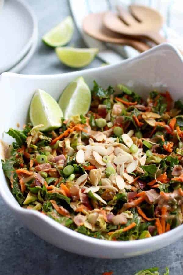 BBQ Ranch Chopped Salad with Brussels Sprouts & Kale in a white bowl