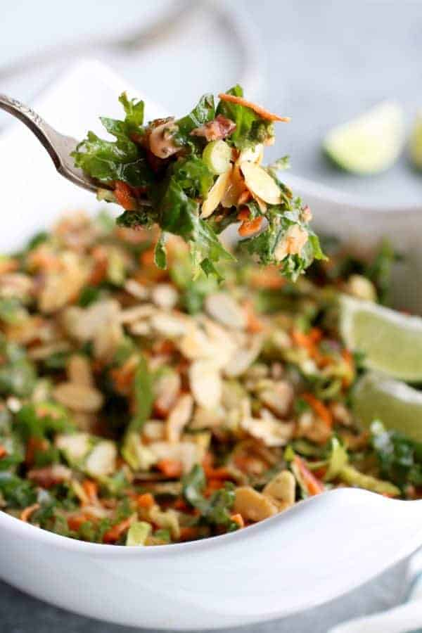 BBQ Ranch Chopped Salad with Brussels Sprouts & Kale on a silver fork