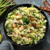 Creamy Chicken Spaghetti Squash with Bacon and Asparagus