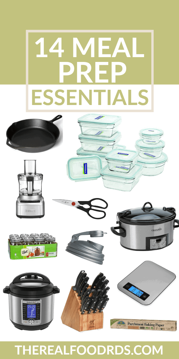 pinterest image for 14 Meal Prep Essentials