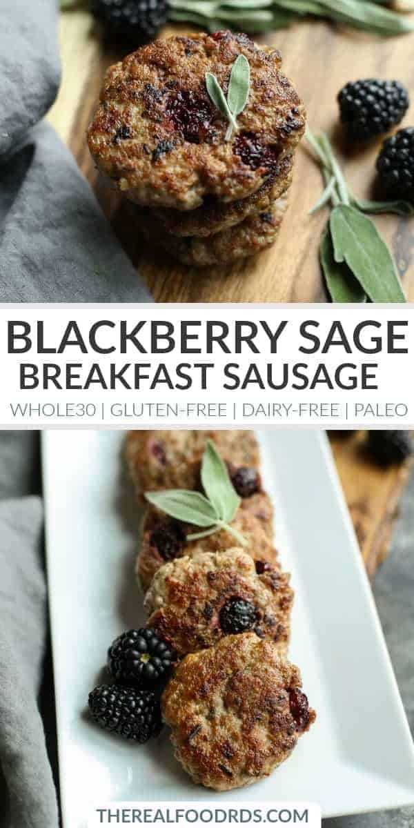 Pinterest image for Blackberry Sage Breakfast Sausage