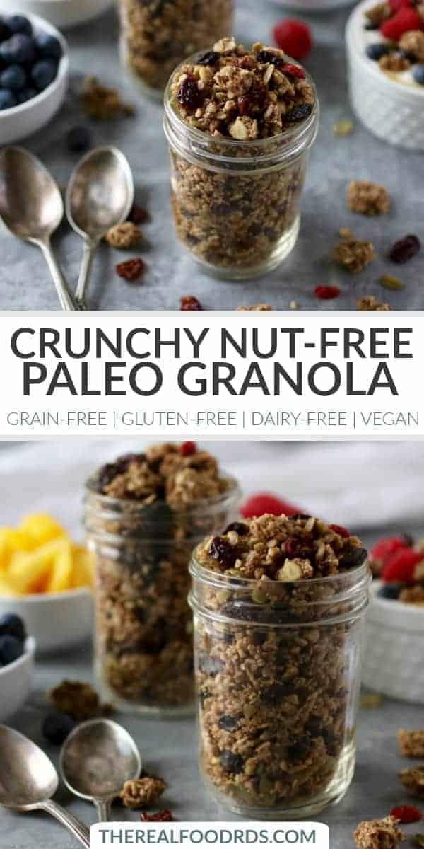 Pinterest image for Crunchy Nut-free Paleo Granola